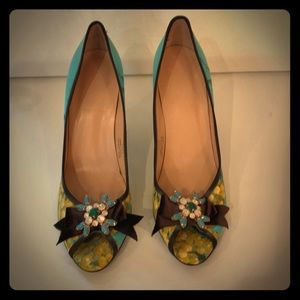J. Crew peep toe pumps with bows